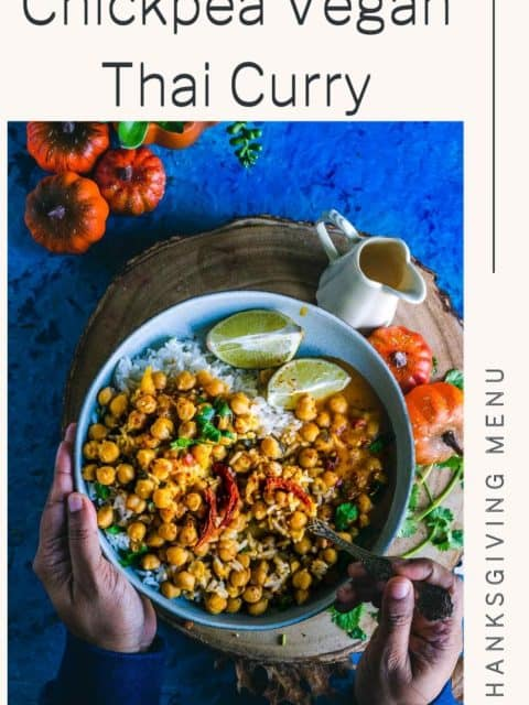 one hand holding the bowl while the other hand is holding a spoon and digging into the bowl filled with Instant Pot Butternut Squash Chickpea vegan Thai Curry and text at the top