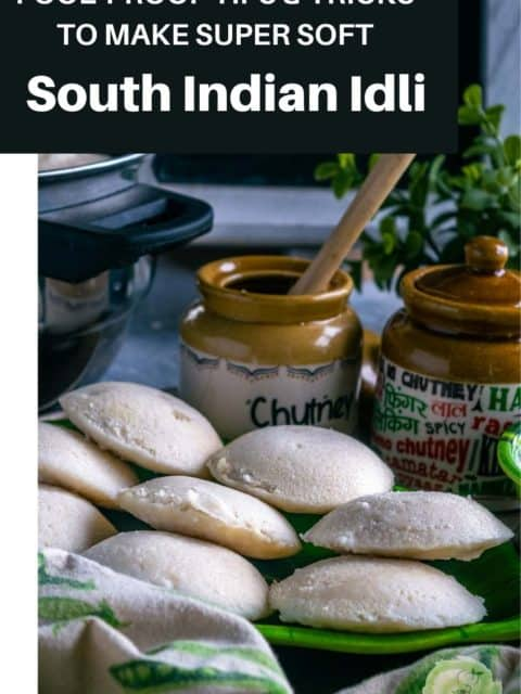 idli made using homemade idli batter served in a plate with text at the top