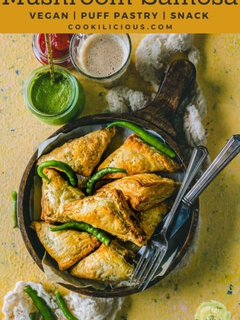 Vegetable Puff Pastry Samosa served with ketchup, chutney and chai with text at the top