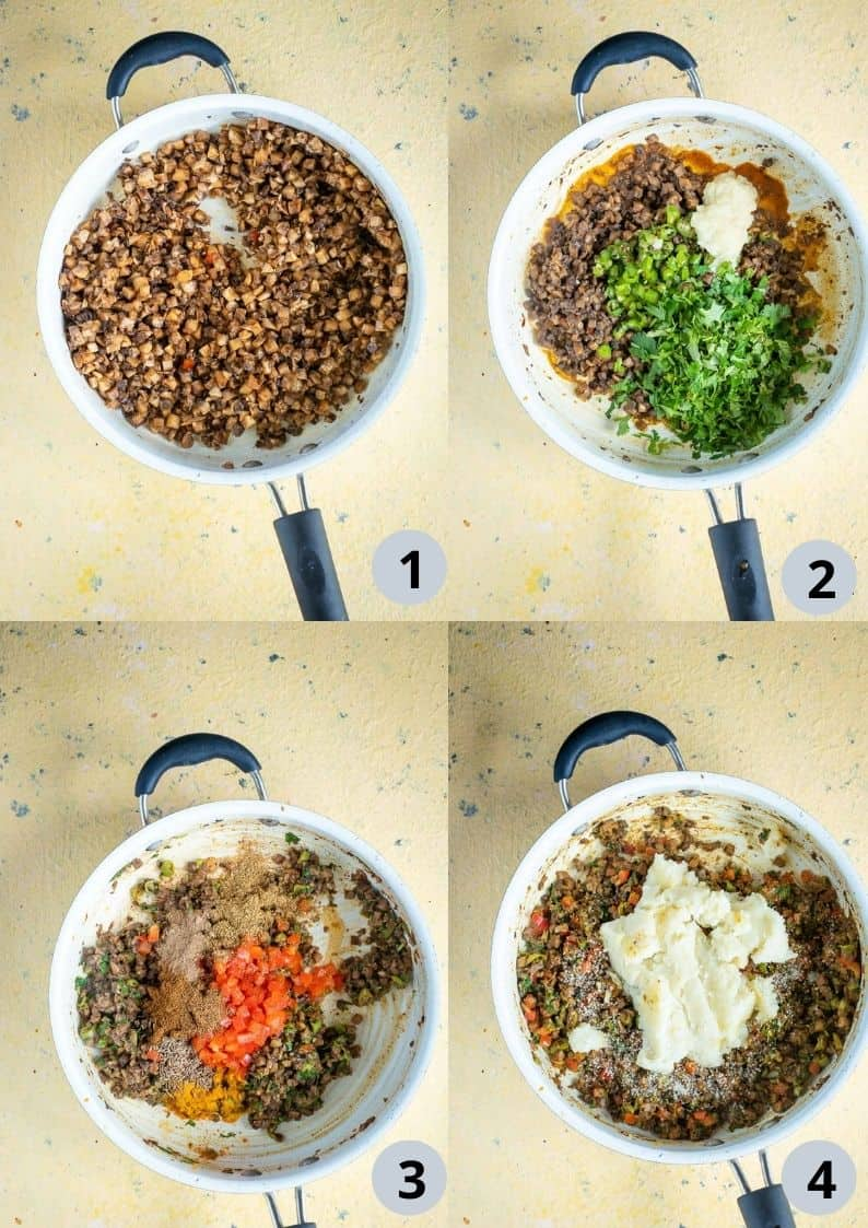4 image collage showing how to make the vegetable stuffing for vegan samosa
