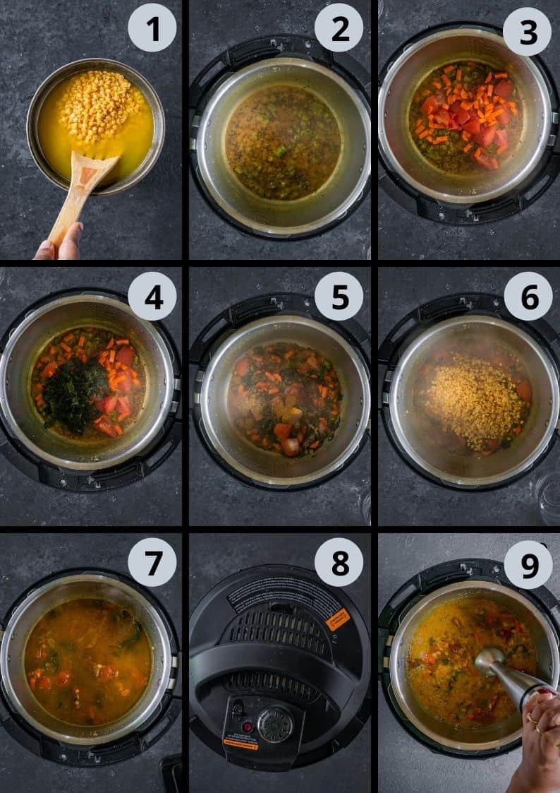 9 image collage showing the steps to make Vegan Lentil Soup | Indian Dal Shorba