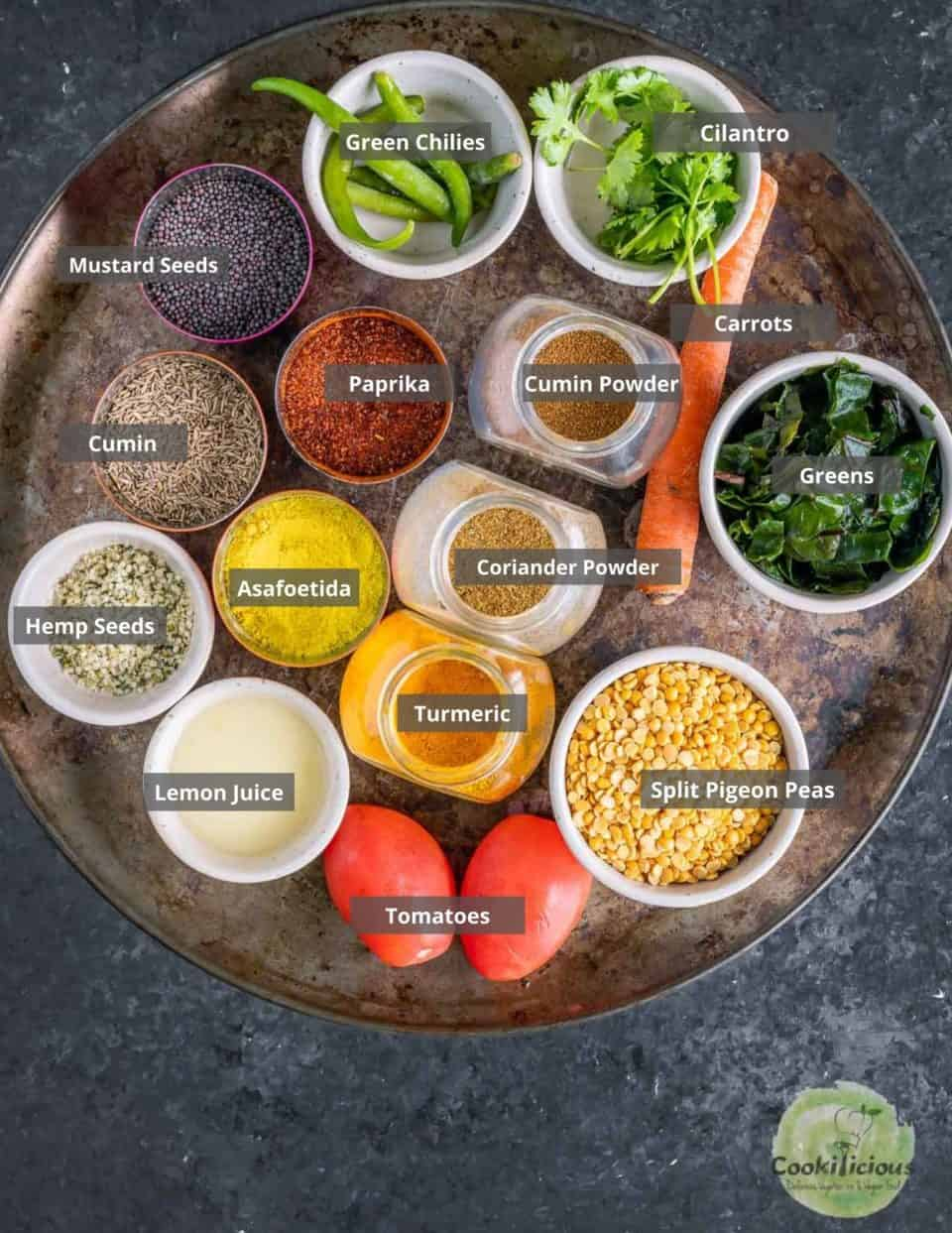 all the ingredients needed to make Vegan Lentil Soup | Indian Dal Shorba placed in a tray with labels on them