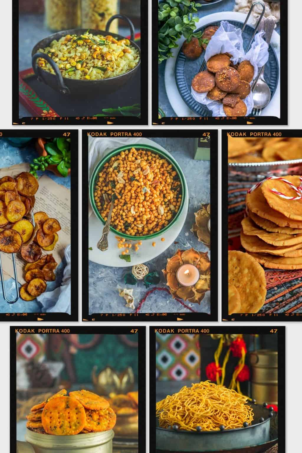 a collage of Indian dry snacks that can be made for Diwali