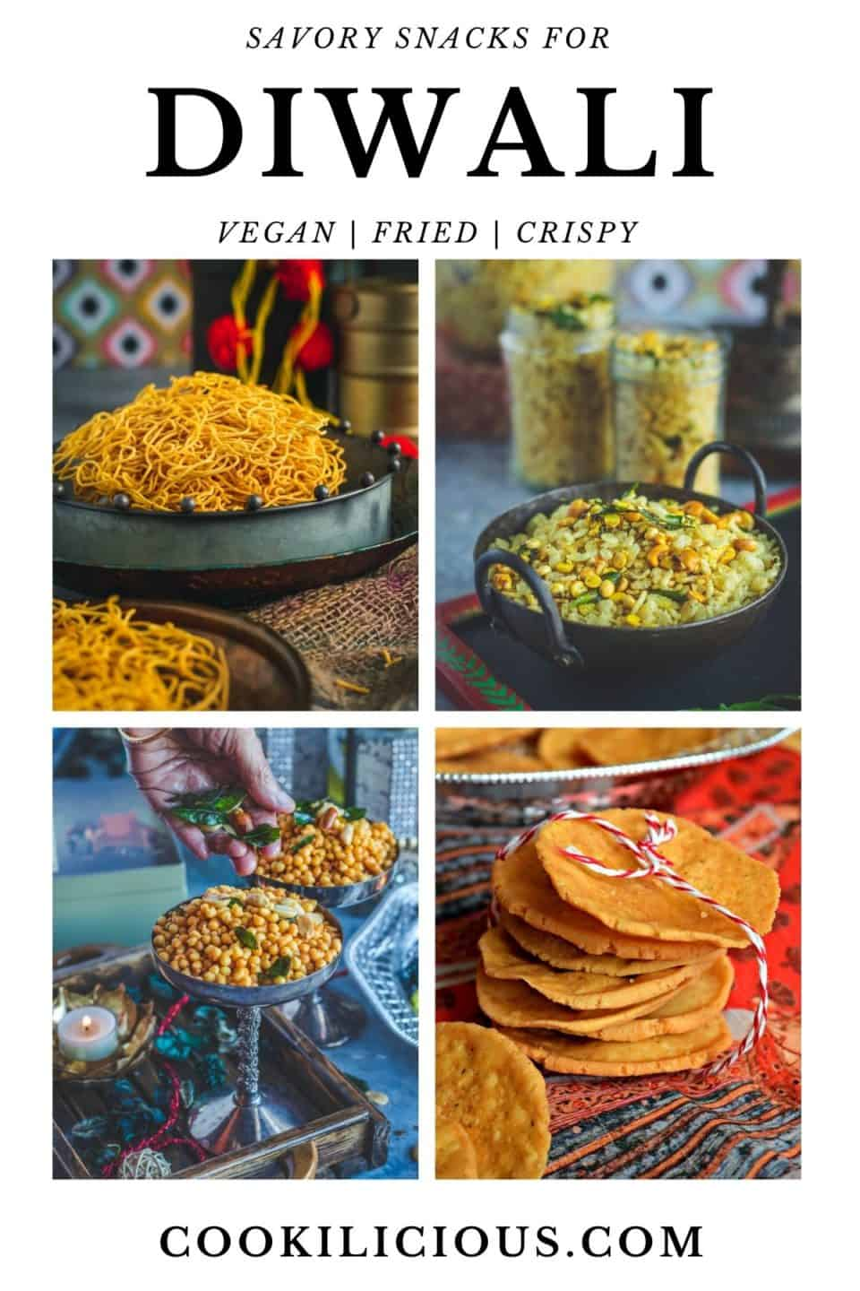 4 image collage of Indian Diwali Food Snacks with text at the top and bottom