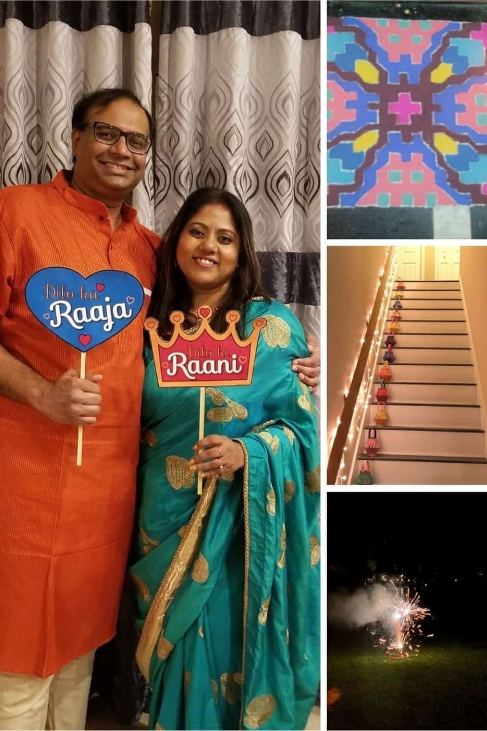 4 image collage of diwali festival being celebrated in Indian homes
