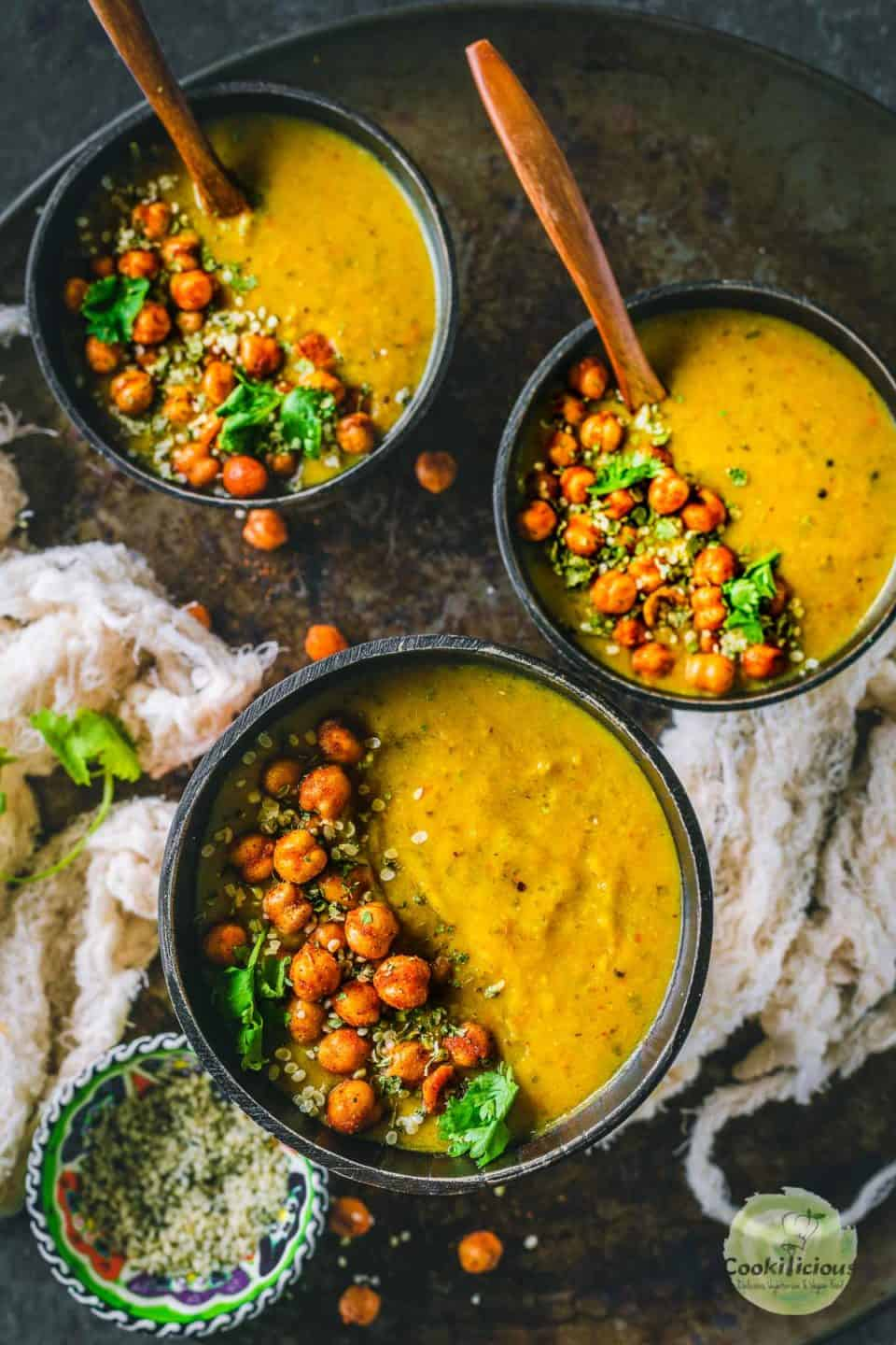 3 bowls of Vegan Lentil Soup | Indian Dal Shorba with spoons in them