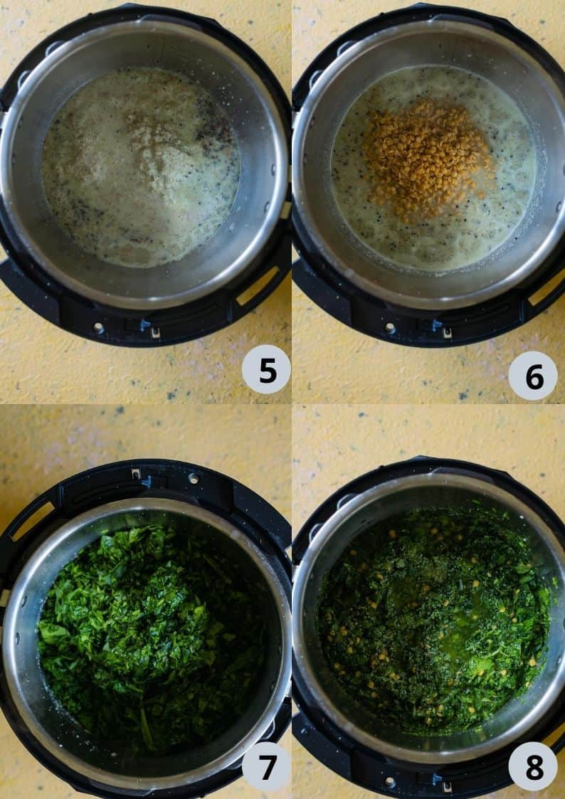 4 image collage showing the steps to make Keerai Kootu with lentils