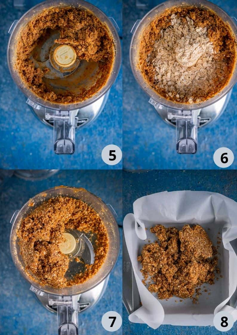 4 image collage indicating how to make Peanut Butter Chocolate Oats Bars