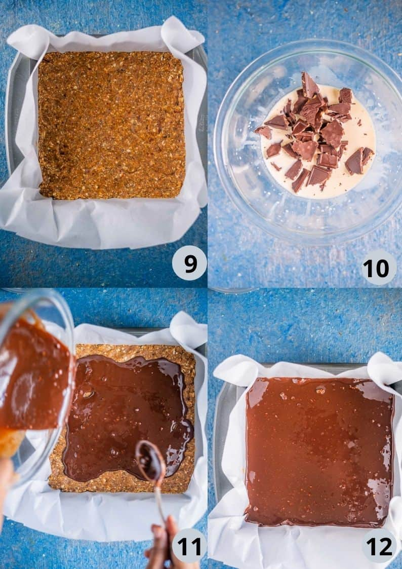 4 image collage showing the process to make Peanut Butter Chocolate Oats Bars