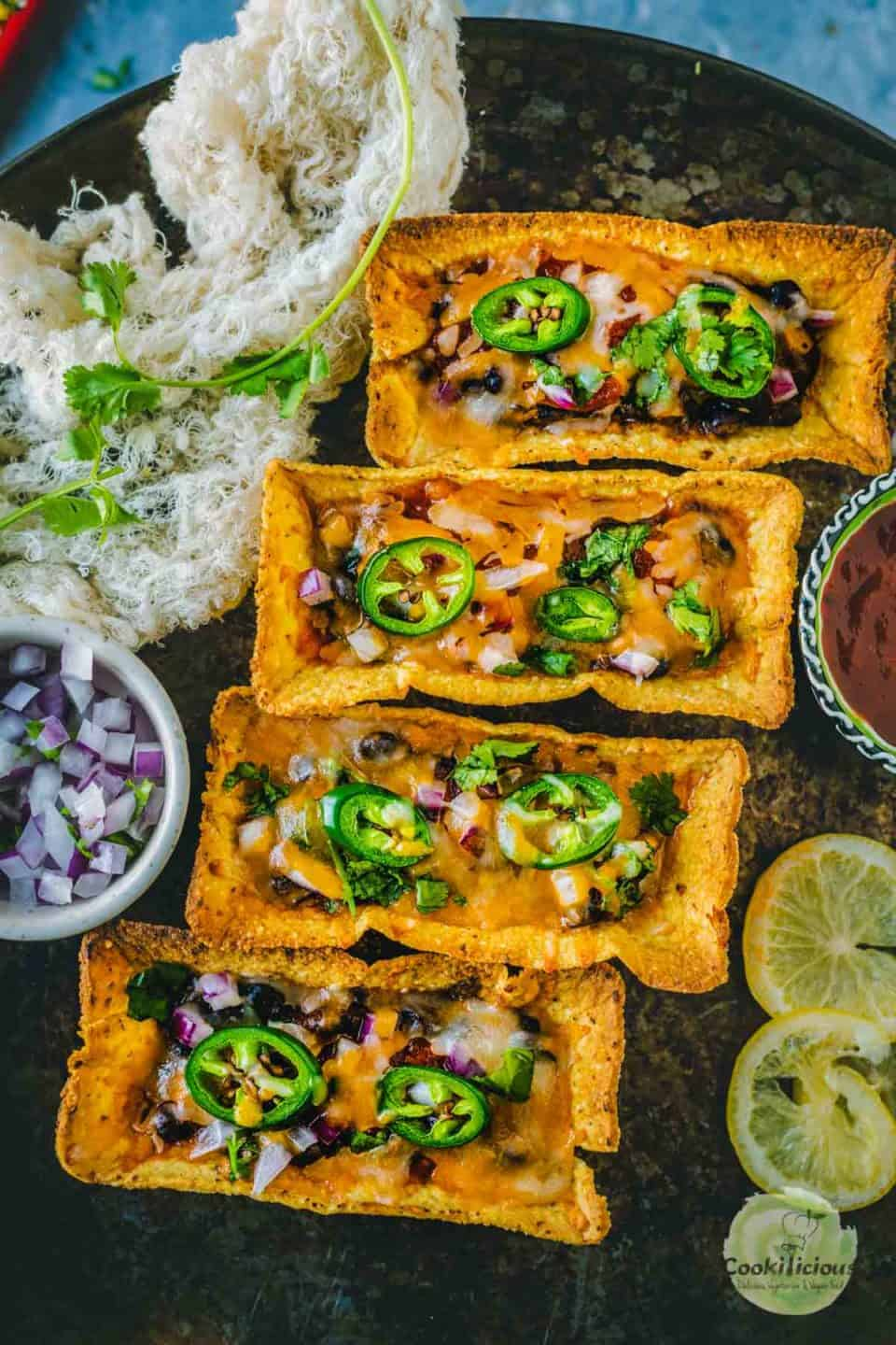 a platter filled with Instant Pot Black Beans Taco Boats