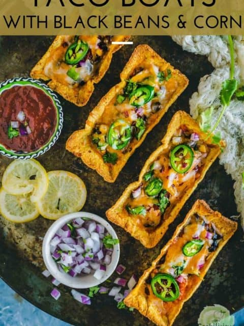 4 Instant Pot Black Beans Taco Boats served in a platter and text at the top