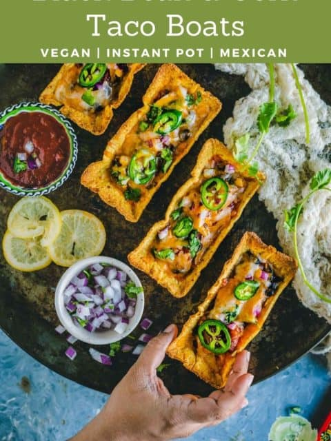one hand reaching out to pick one of the Instant Pot Black Beans Taco Boats and text at the top