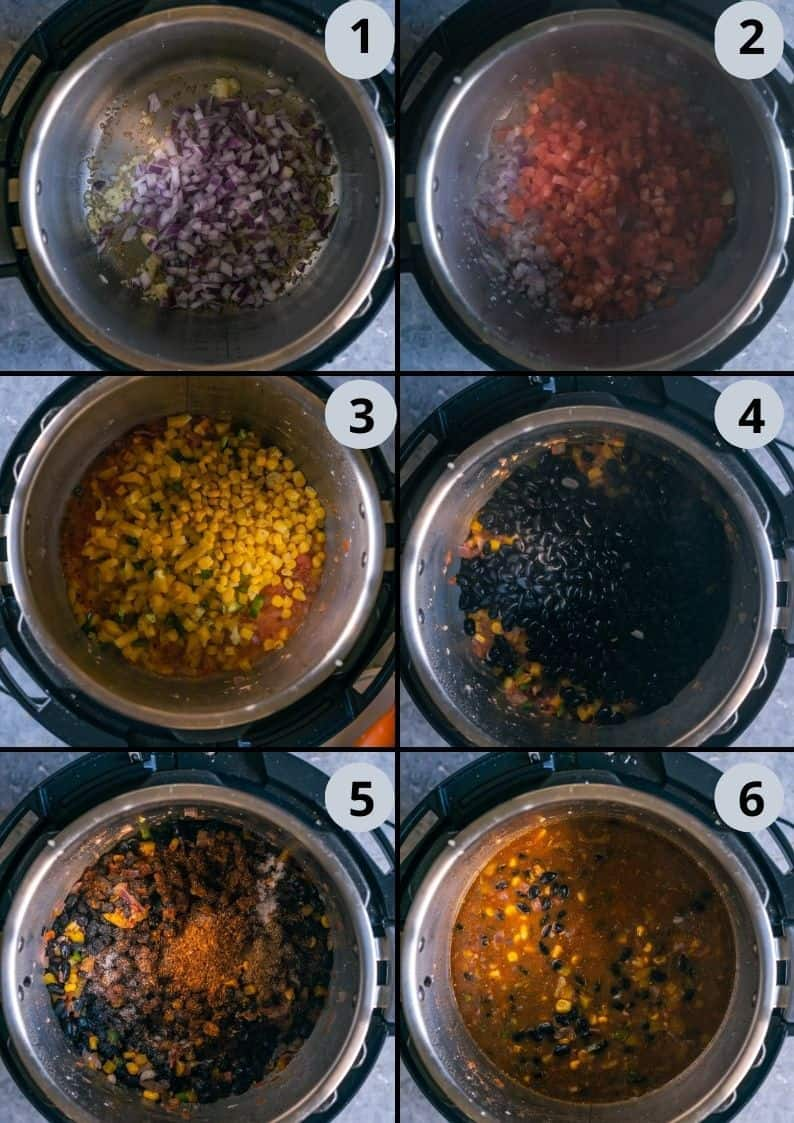 6 image collage showing how to make Instant Pot Black Beans Taco Boats