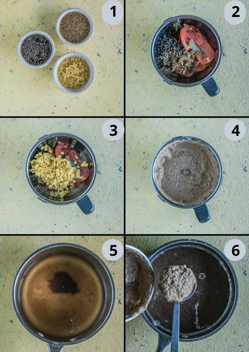 6 image collage showing how to make Jeera Milagu Rasam