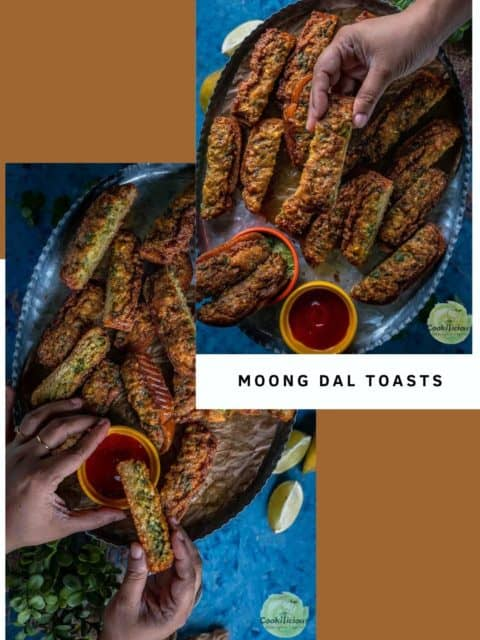 2 image collage of Moong Dal Toast with text