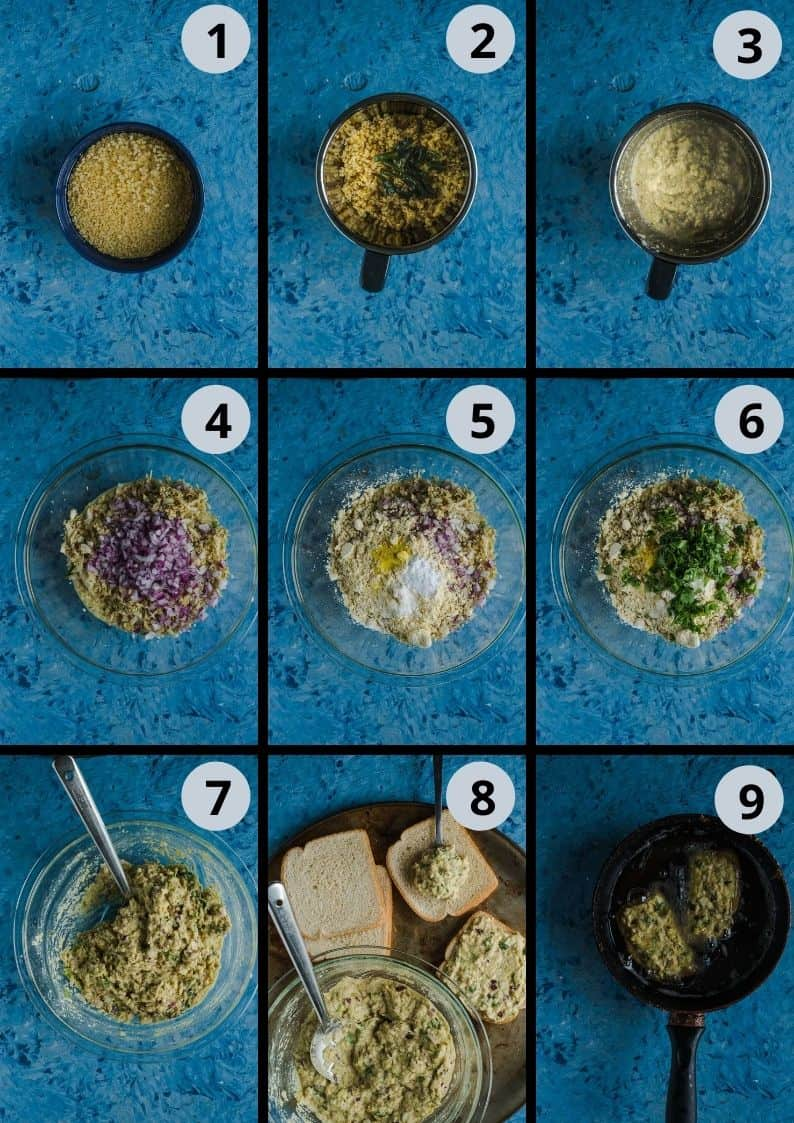 9 image collage showing how to make Moong Dal Toast