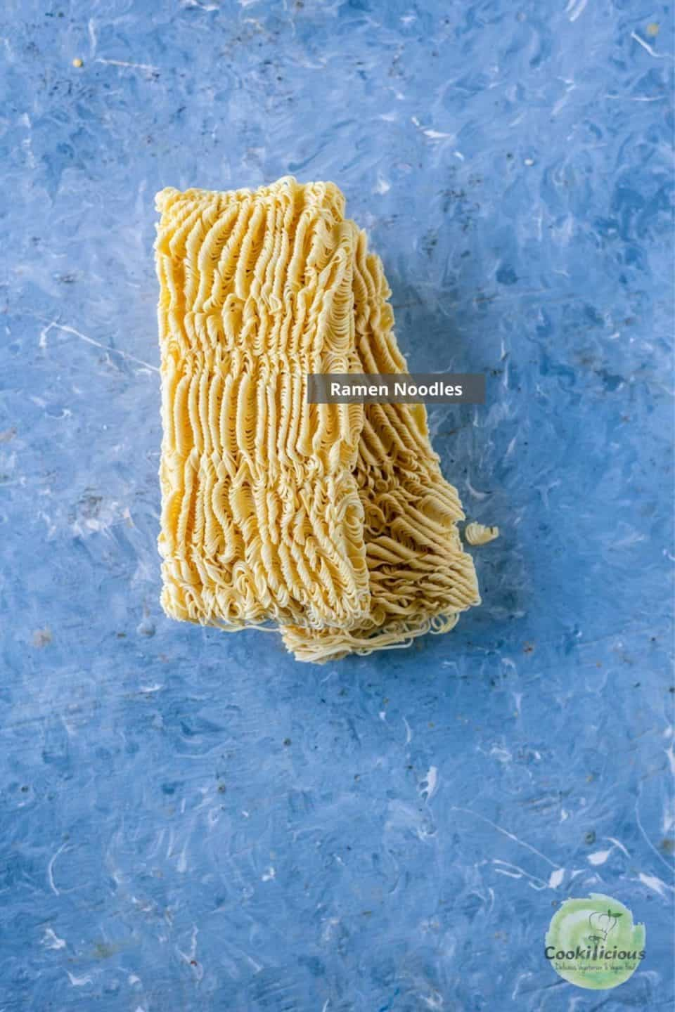 uncooked ramen noodles with label on it