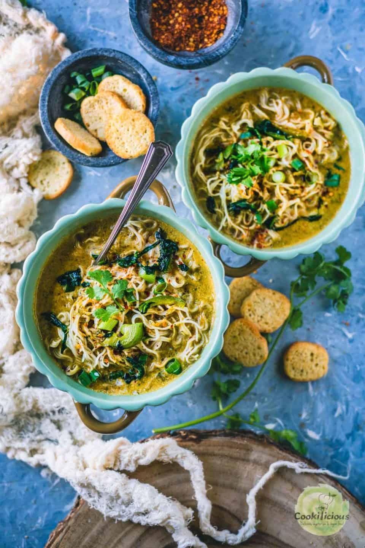 2 bowls of Vegan Thai Curry Noodles Soup