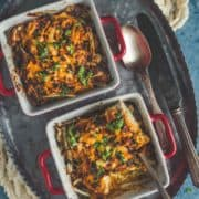 2 bowls of vegan Tofu Makhani Bake served on a tray