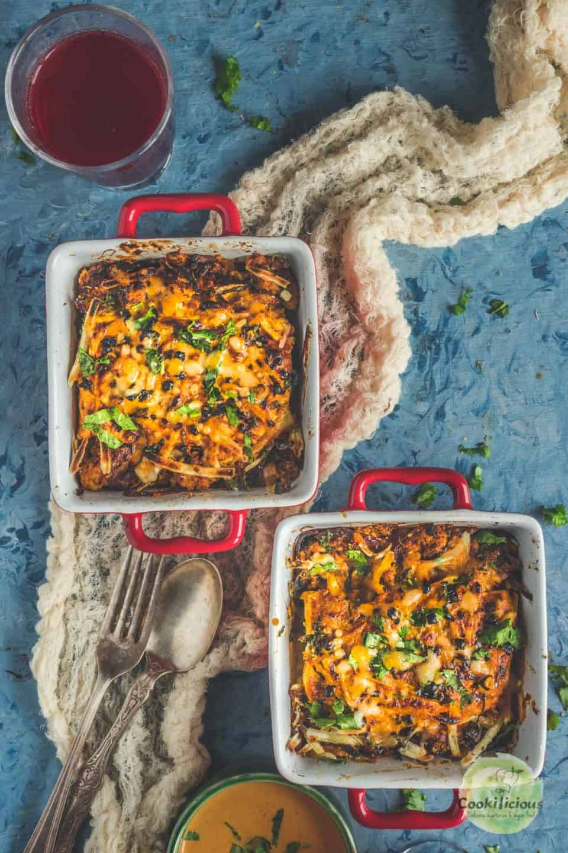 2 square bowls of vegan Tofu Makhani Bake