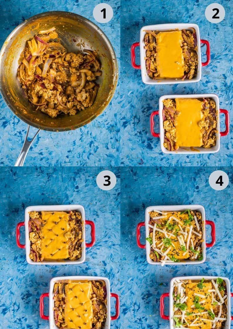 4 image collage showing how to prep for vegan Tofu Makhani Bake