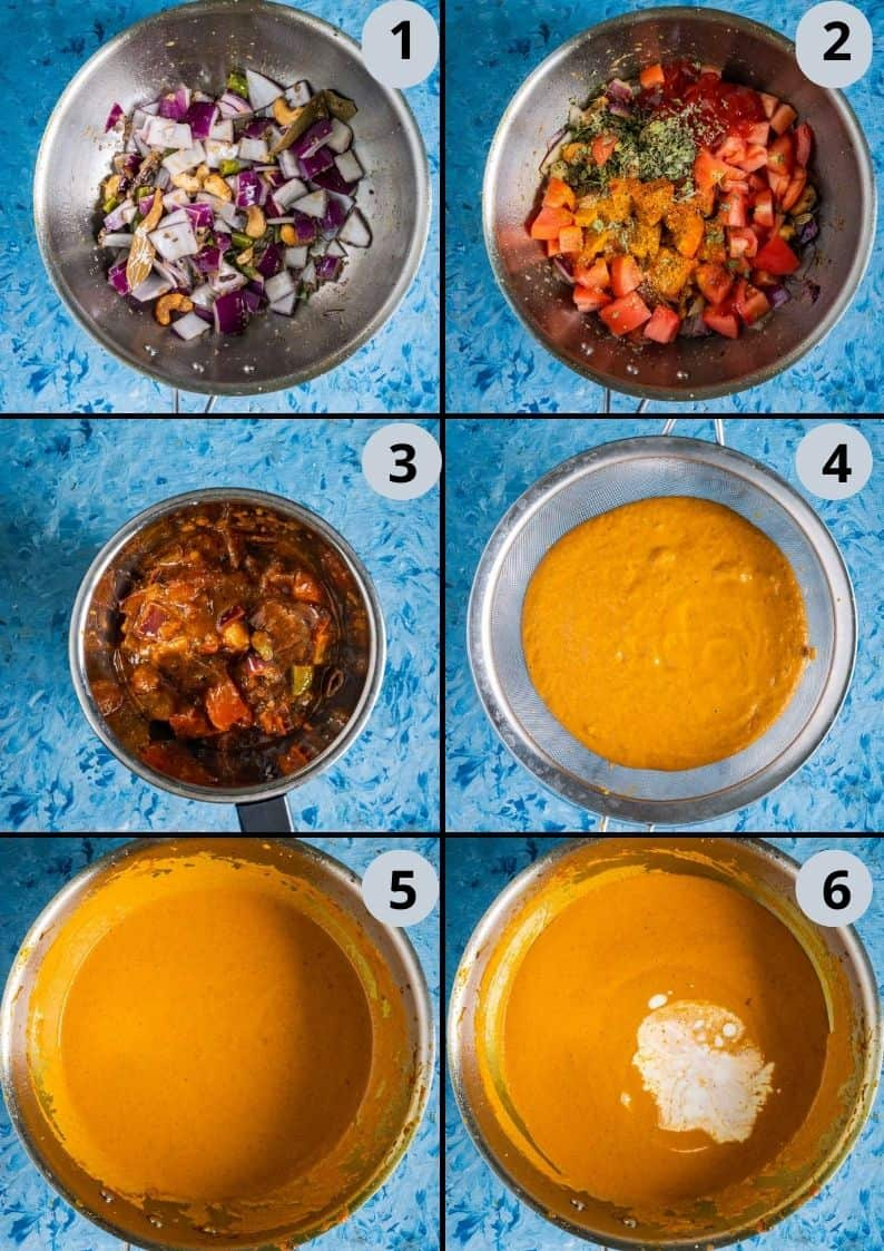 6 image collage showing how to make vegan Tofu Makhani Bake