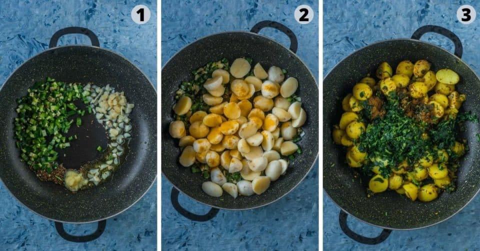 3 image collage showing how to make Aloo Methi