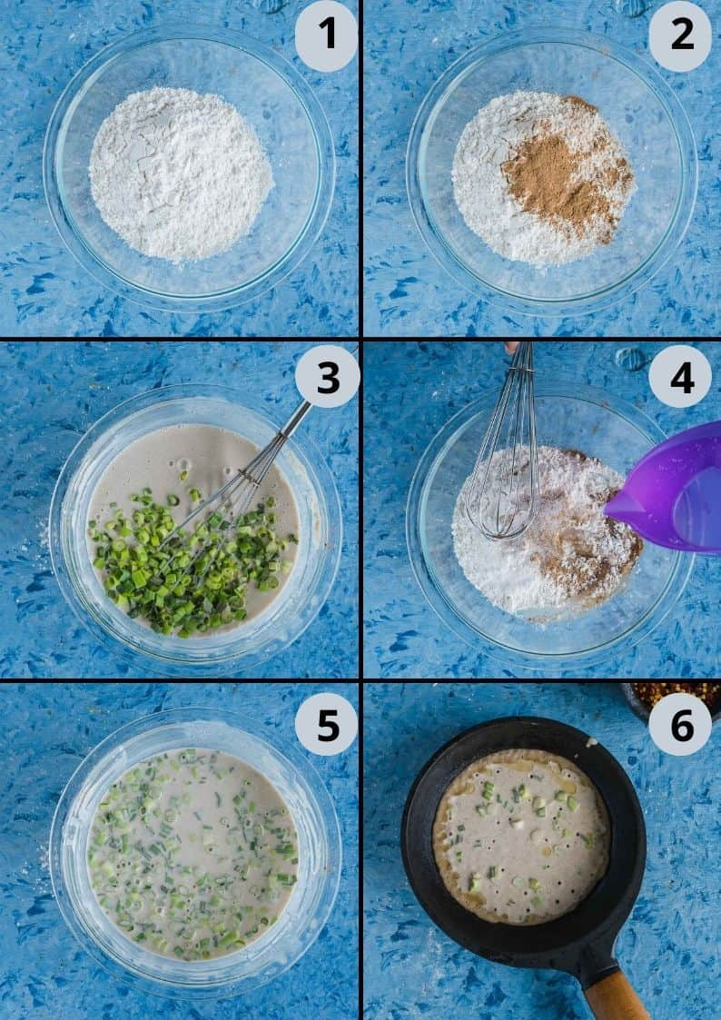 6 image collage showing the steps to make Chinese Scallion Pancakes