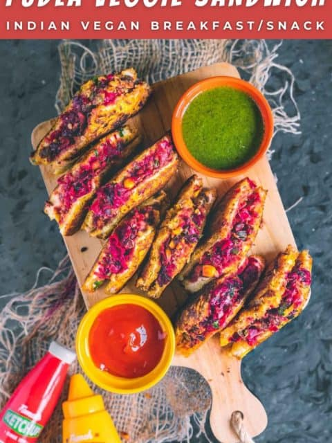 Savory French Toast slices placed on a wooden board with a bowl of ketchup and chutney and text at the top and bottom