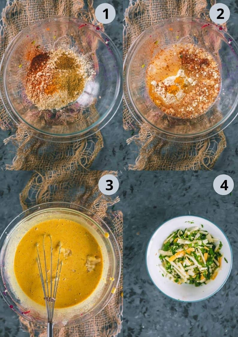 4 image showing how to make the batter for Savory French Toast