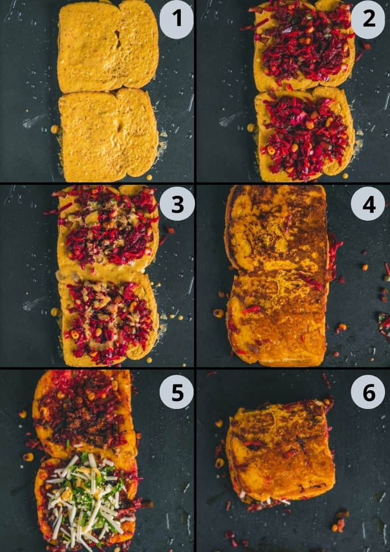 6 image collage showing how to make Savory French Toast