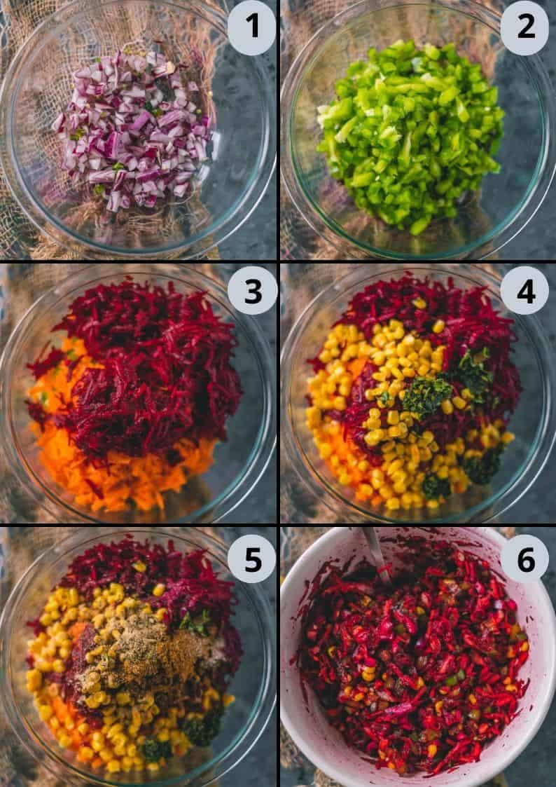 6 image collage showing how to make the stuffing for Savory French Toast