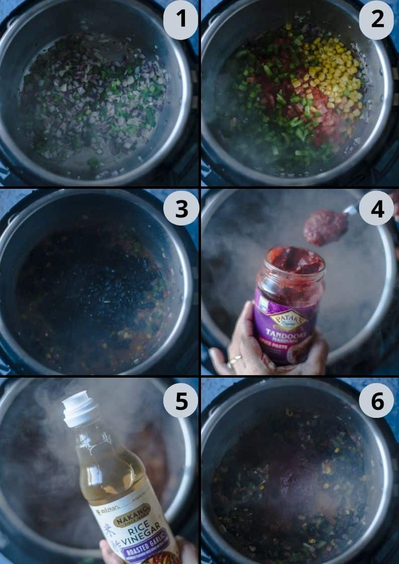 6 image collage showing how to prepare the sauce for Tandoori Cheese Quesadilla