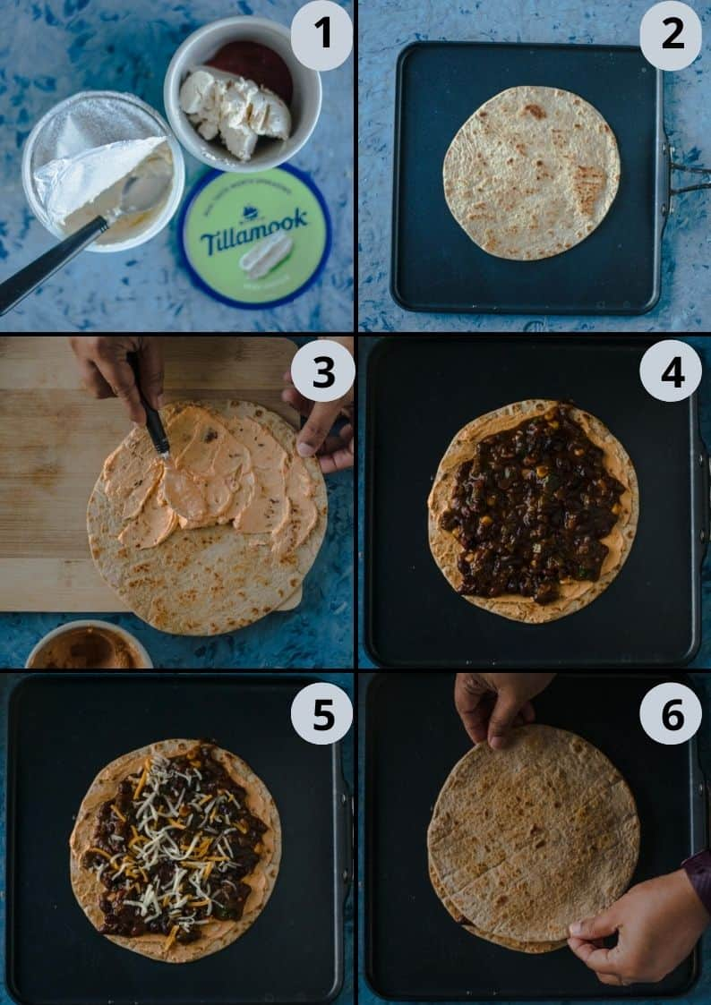 6 image collage showing the steps to make Tandoori Cheese Quesadilla