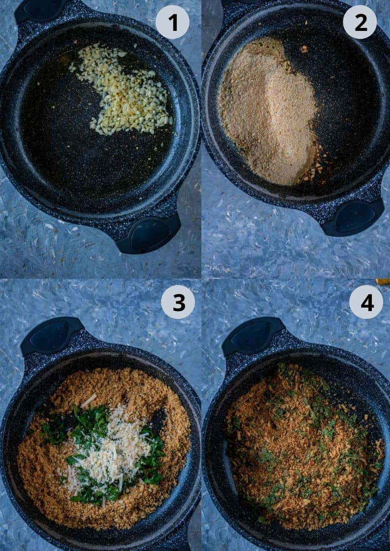 4 image collage showing the steps to make breadcrumbs mixture for the pasta salad