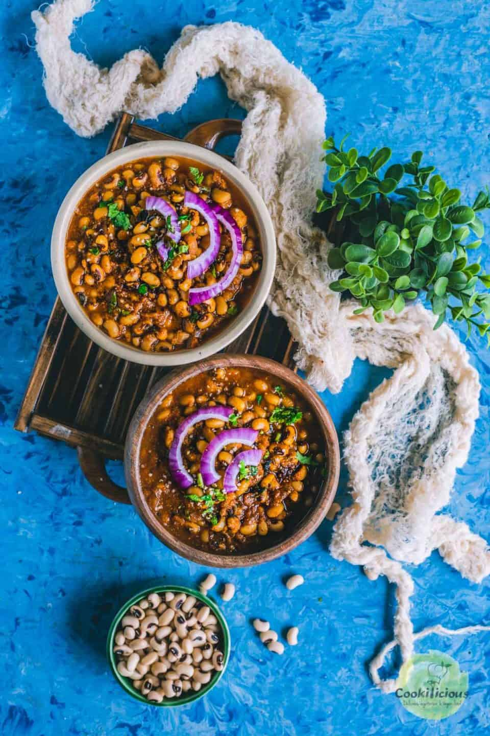 Chettinad Black Eyed Peas Curry  filled in 2 round serving bowls