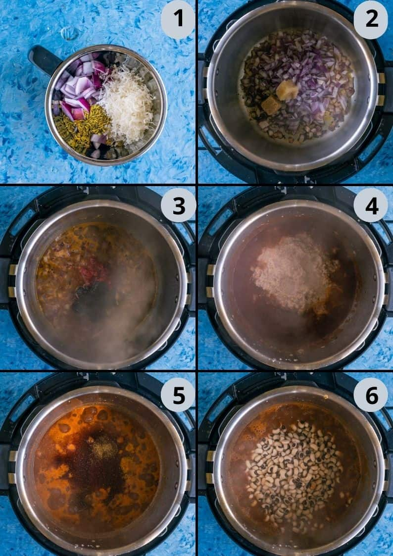 6 image collage showing how to make Chettinad Black Eyed Peas Curry