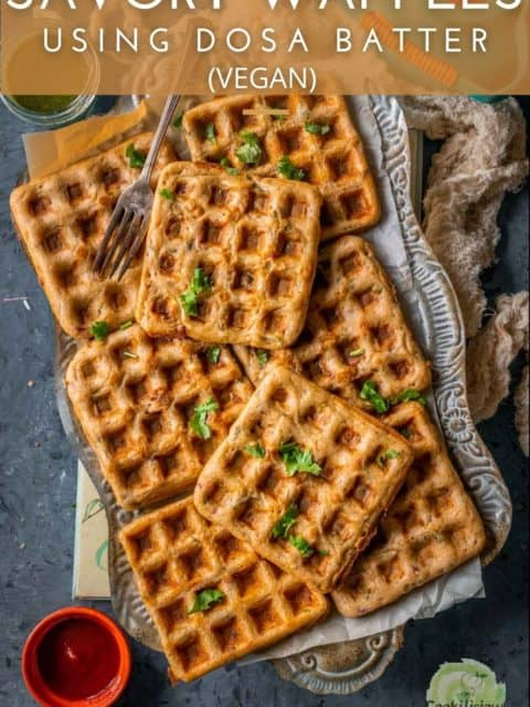 a rectangular tray filled with Vegan Savory Dosa Waffles and text at the top