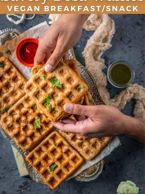 a set of hands holding one Vegan Savory Dosa Waffle and text at the top