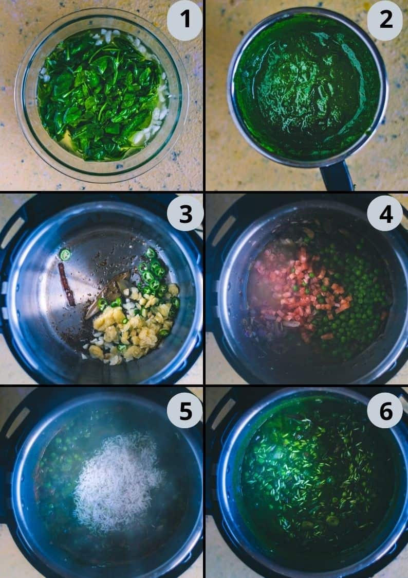 6 image collage showing how to make palak pulao rice