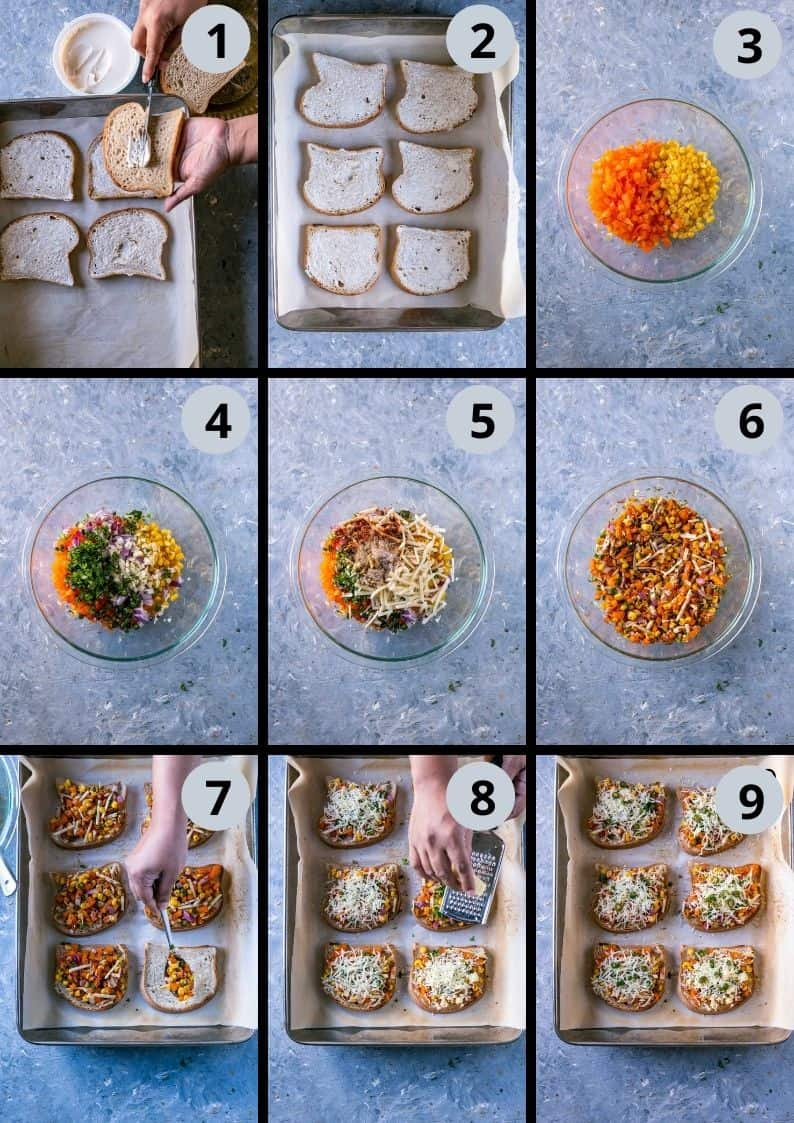 6 image collage showing the steps to make Vegan Chilli Cheese Corn Toast