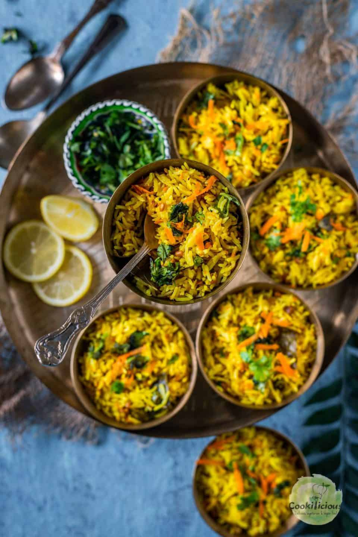 close up of one bowl of Vegan Instant Pot Lemon Rice