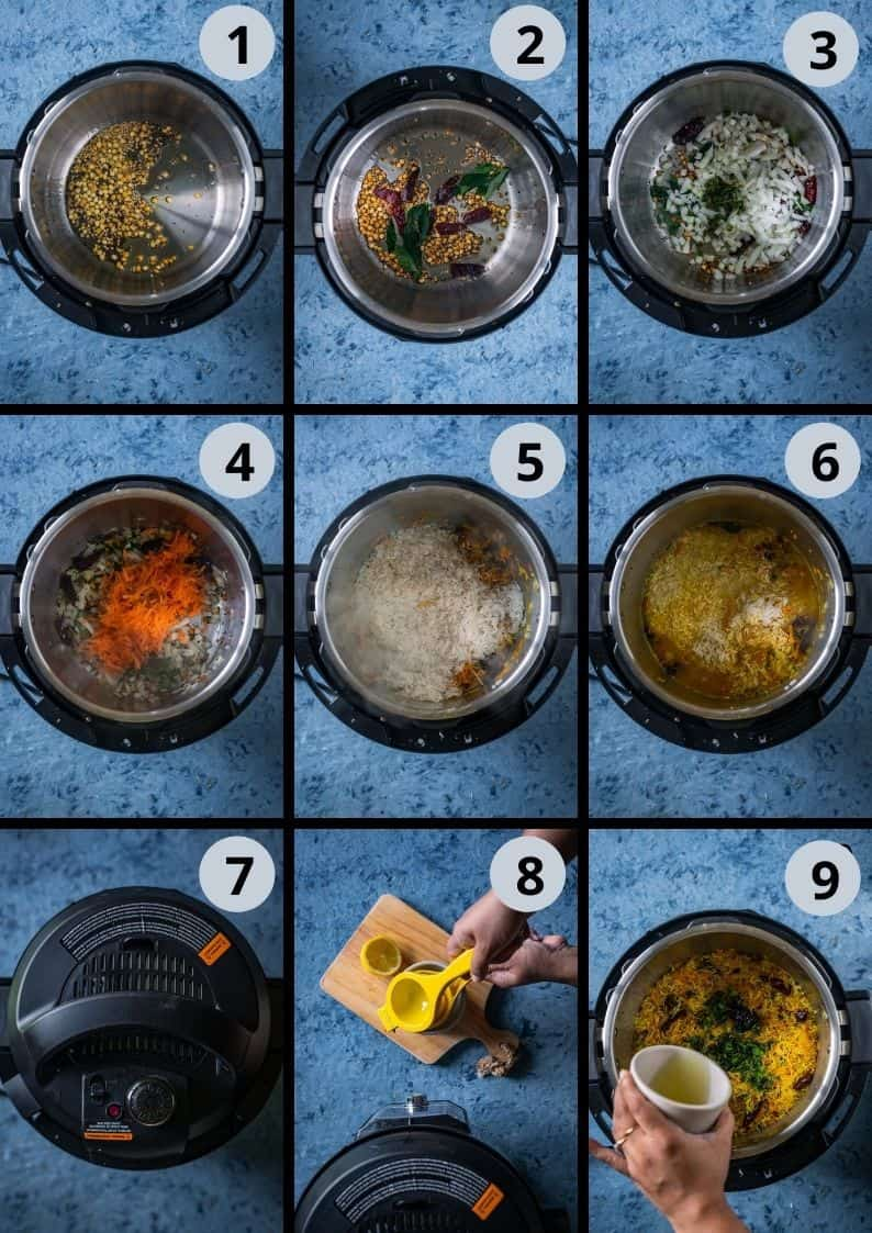 9 image collage showing the steps to make Vegan Instant Pot Lemon Rice