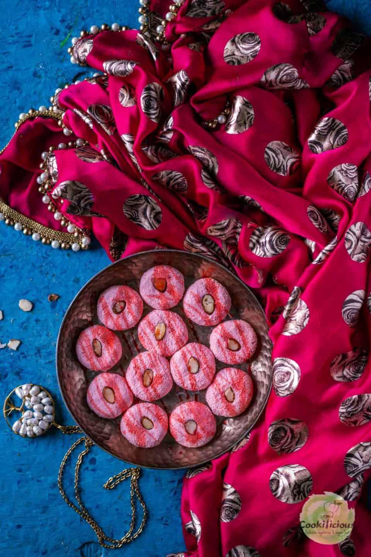 Rose Sandesh - Bengali Sweet plated decoratively