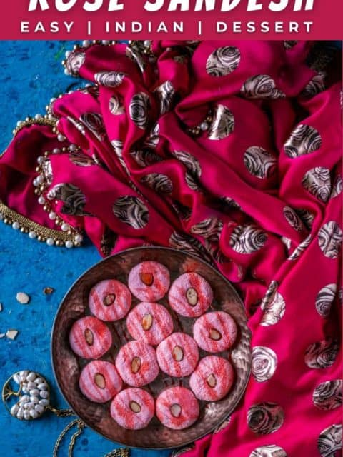 Rose Sandesh - Bengali Sweet plated decoratively and text at the top and bottom