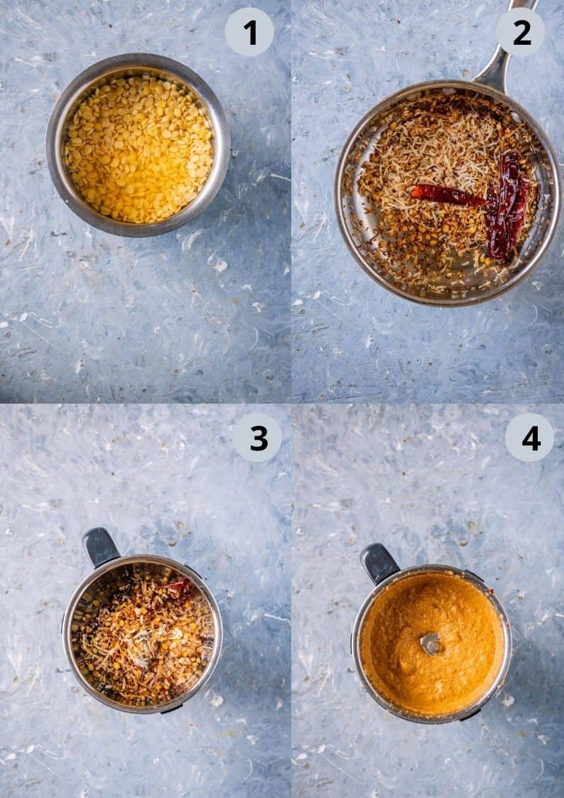 4 image collage showing how to make the ground masala for Arachuvitta Sambhar