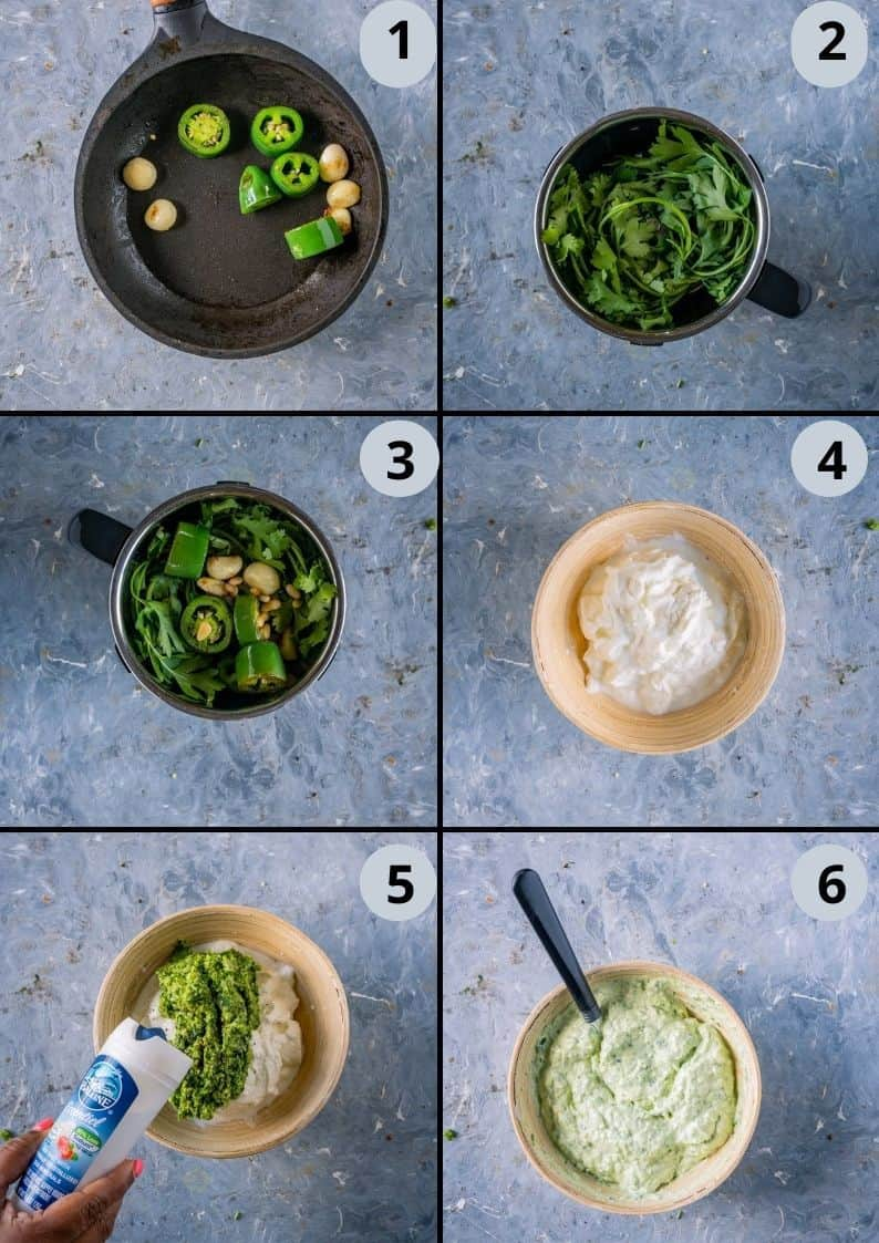 6 image collage showing the steps to make jalapeno pesto yogurt sauce