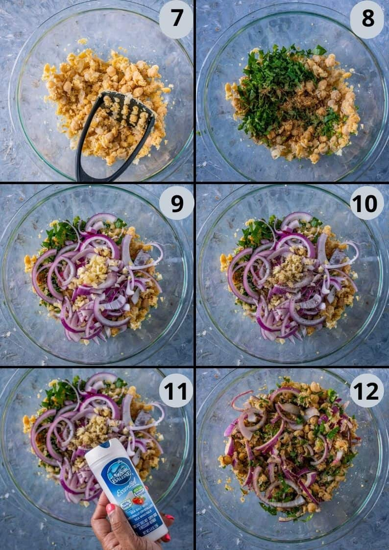 6 image collage showing how to make the homemade falafel mix