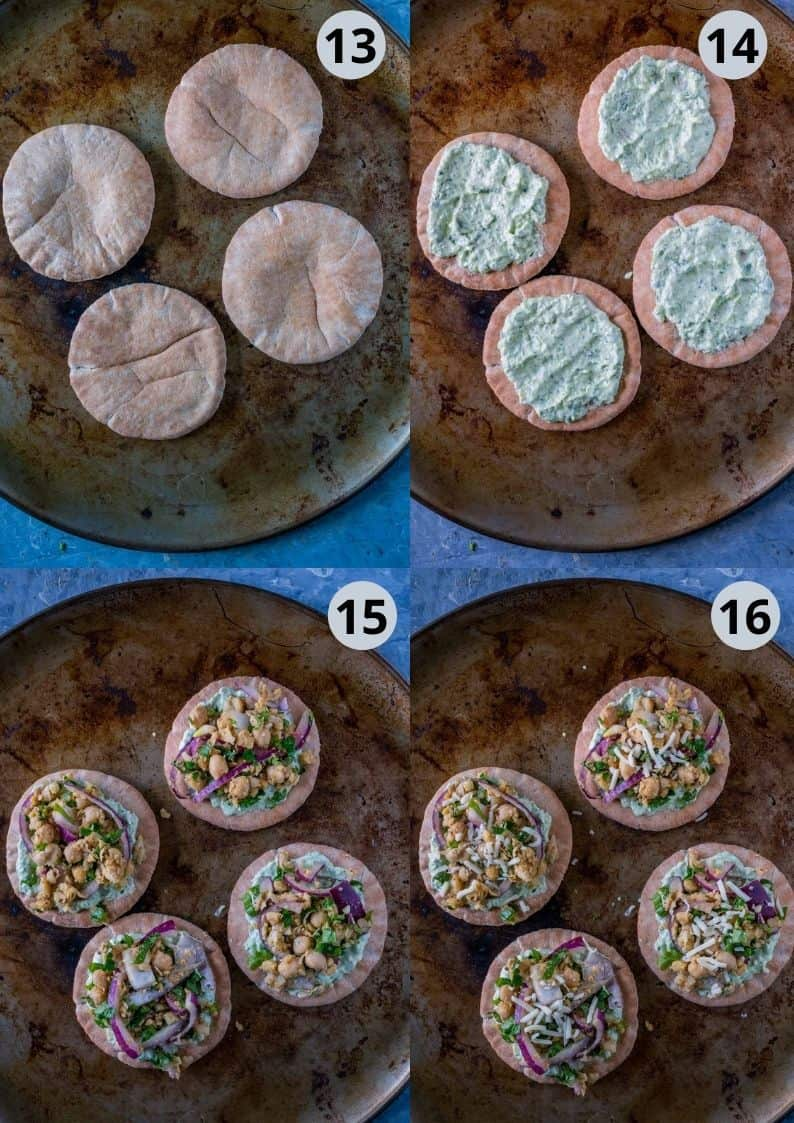 4 image collage showing how to assemble the falafel mixture over the pita breads