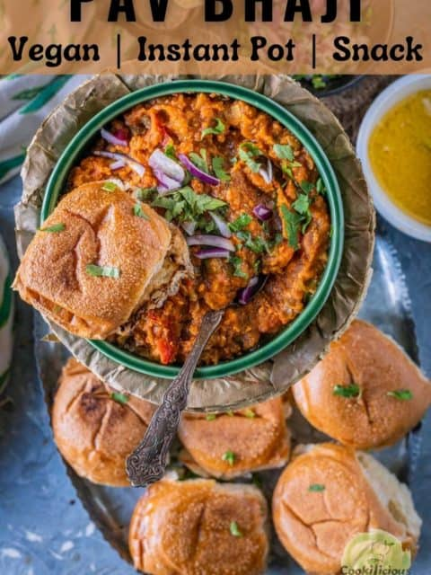 pav bhaji served with water rolls and text at the top